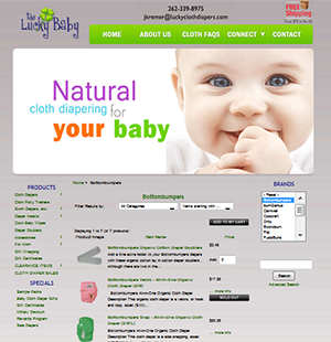 Cloth Diaper E-Commerce Web Design